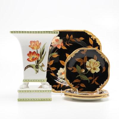 "Raymond Waites ""Hampton Garden"" Dishware and ""Crimson Garden"" Vase"