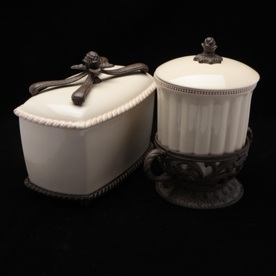 Gerson Co. Ceramic and Metal Serving Containers with Stands, Contemporary