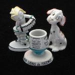 French Porcelain Match Striker, Harlequin and Dog Figurines