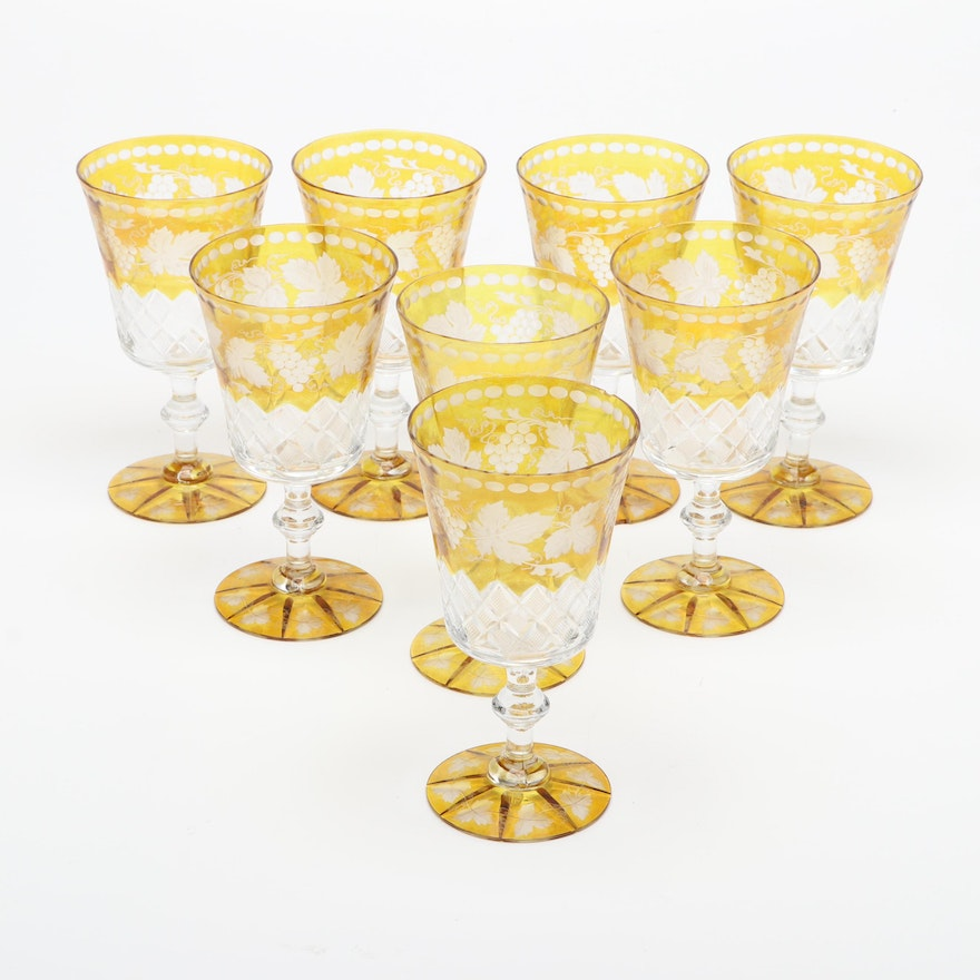 Bohemian Amber Flash Cut to Clear Glass Water Goblets with Grape Vine Theme