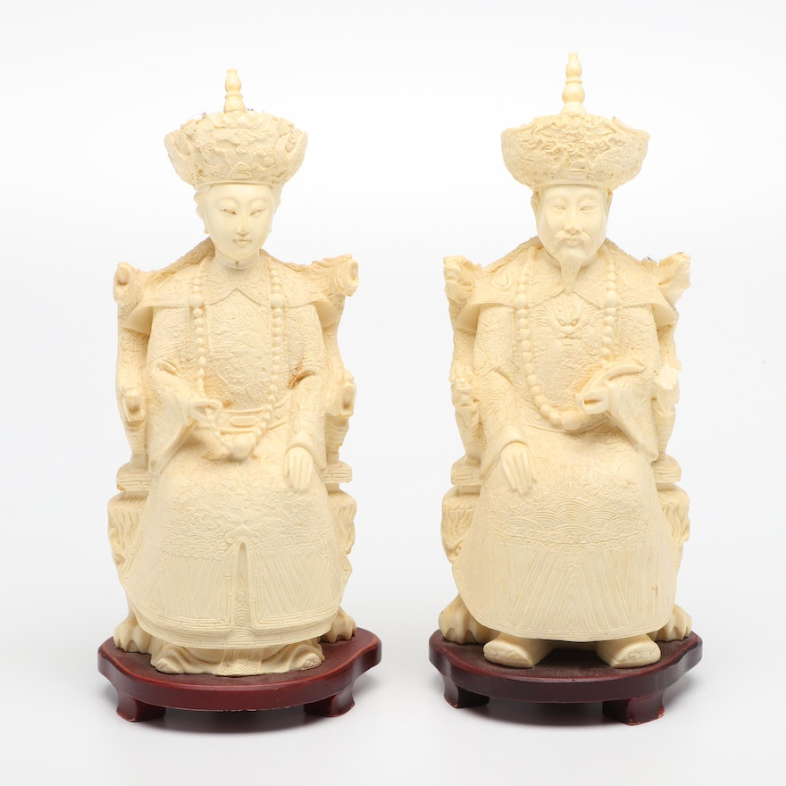 Hand-Carved White Resin Chinese Ancestor Figures