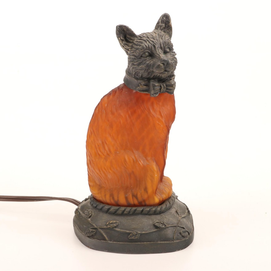 Amber Glass and Cast Metal Figural Cat Night Light Lamp