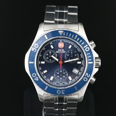 Stainless Steel Swiss Military Chronograph Wristwatch