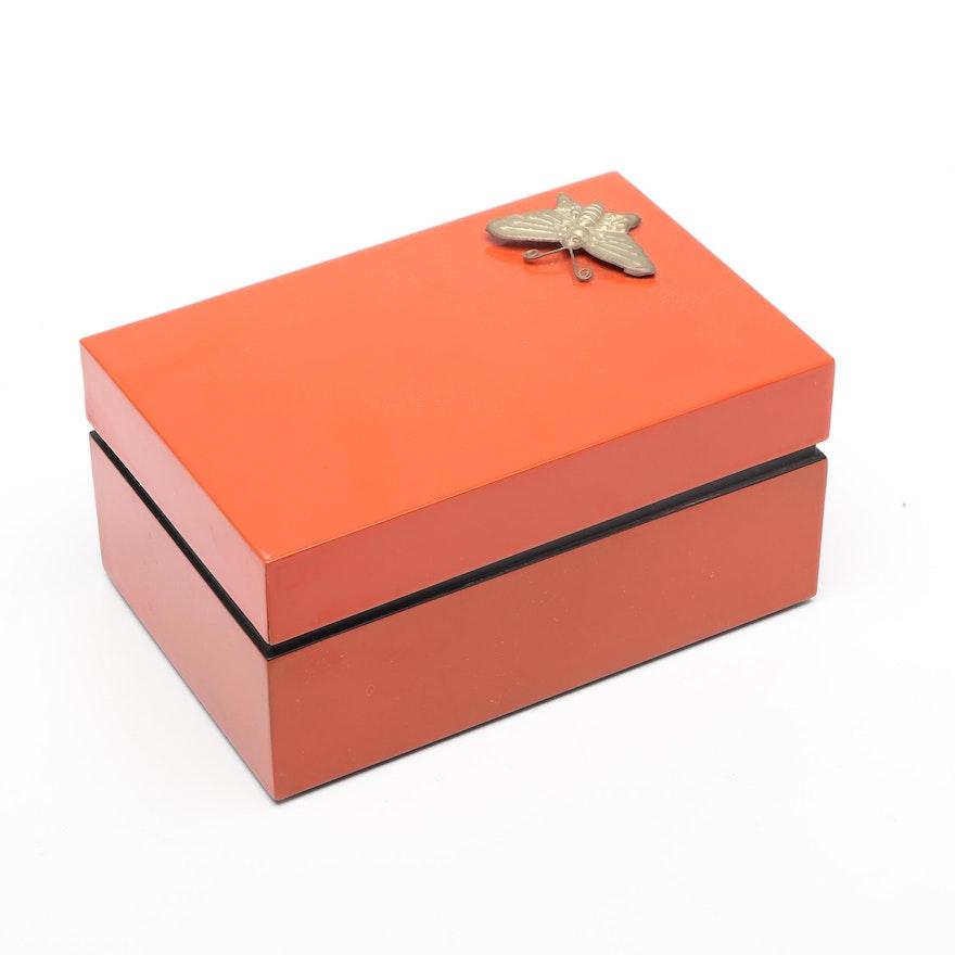 Vietnamese Lacquerware Box with Brass Moth