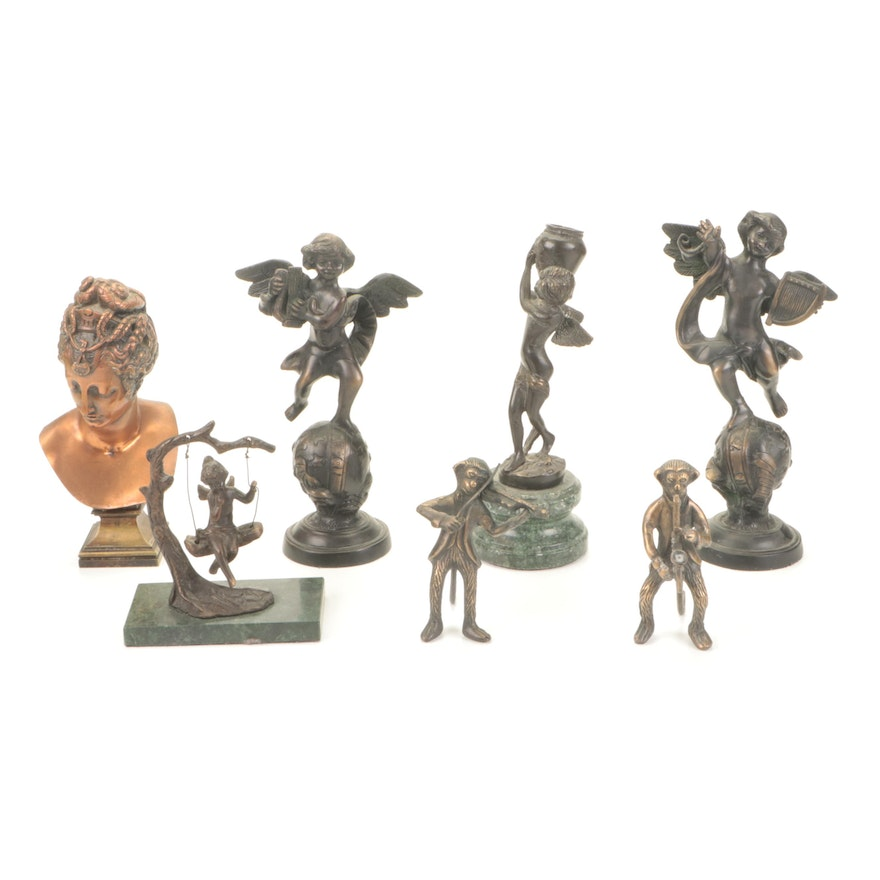 Bronze-Patinated Brass Angel, Monkey and Female Bust Sculptures
