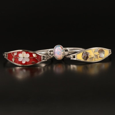 Faux Opal and Floral Inlay Hinged Bangles Including Sterling