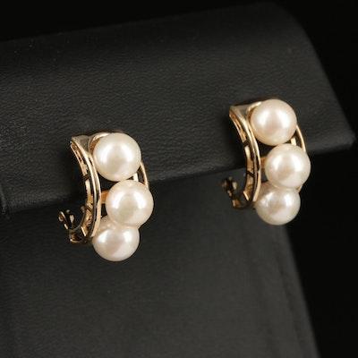 14K Pearl Half Hoop Earrings