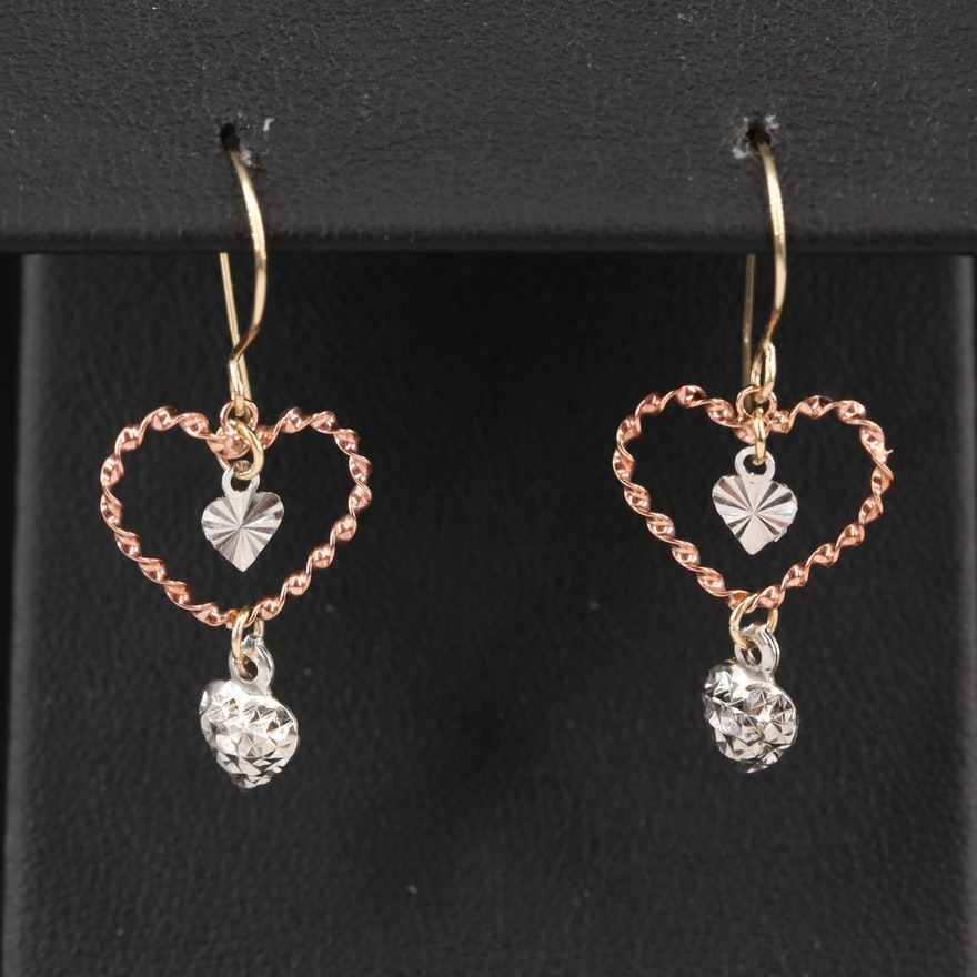 14K Heart Earrings