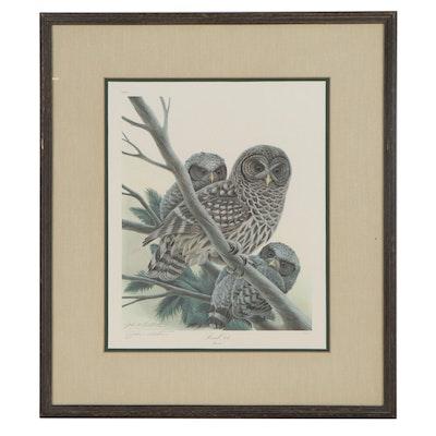 """John Ruthven Offset Lithograph """"Barred Owls"""""""
