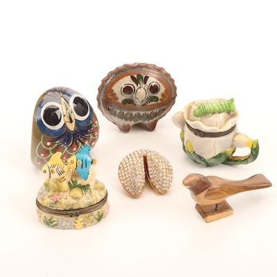 Mexican Pottery Owls, Trinket Boxes, Fortune Cookie, and Carved Wooden Bird