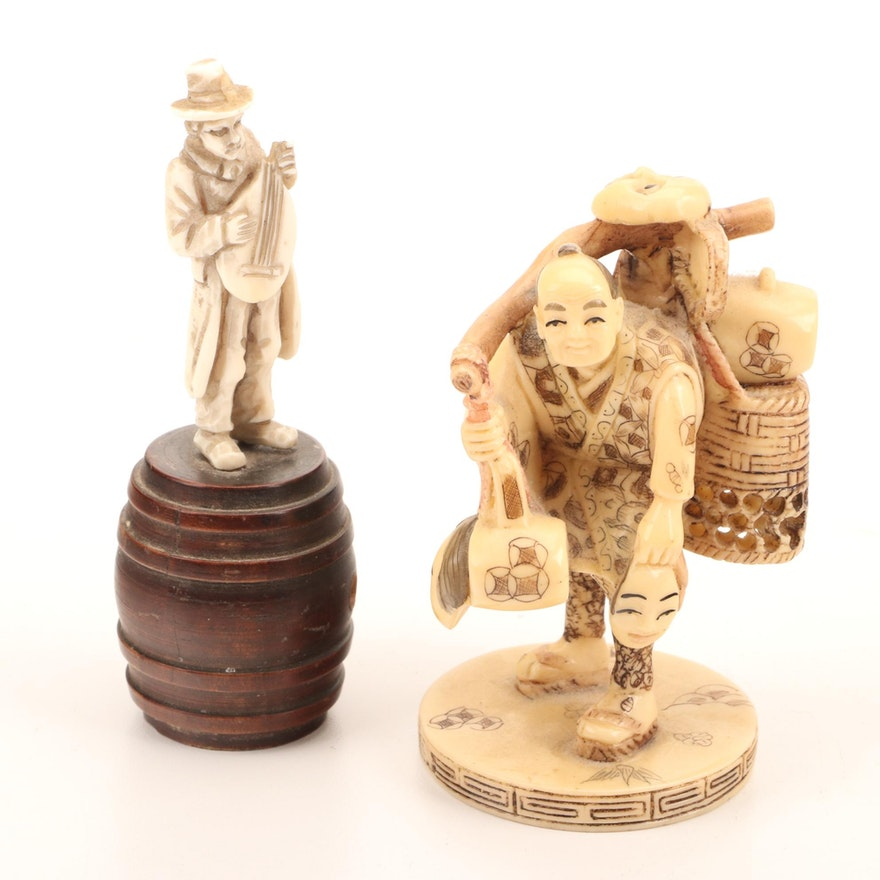 Carved Resin Japanese Kabuki Mask Maker Okimono and Mandolin Player Figure