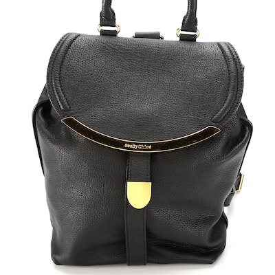 See by Chloé Black Grained Leather Backpack Purse