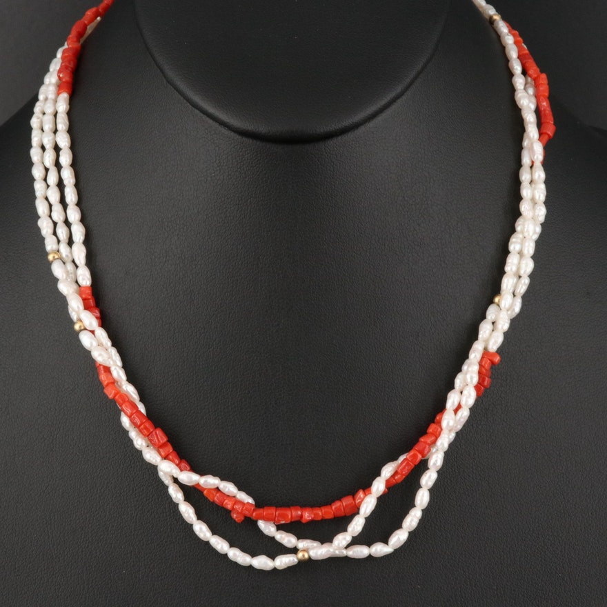 14K Coral and Pearl Bead Necklace