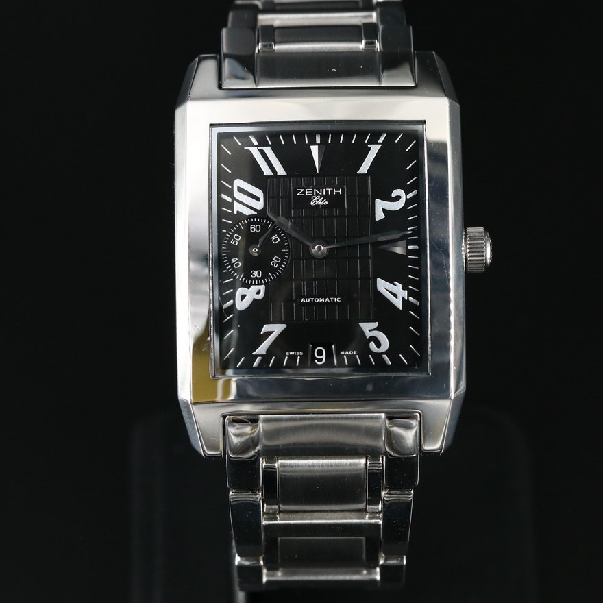 Zenith Port Royal Elite Rectangle Stainless Steel Automatic Wristwatch
