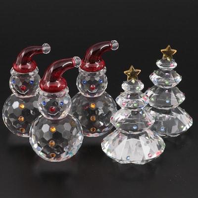 Judith Ripka Crystal Snowmen and Christmas Tree Figurines