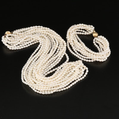Pearl Torsade Necklace and Bracelet Set with 14K Clasps