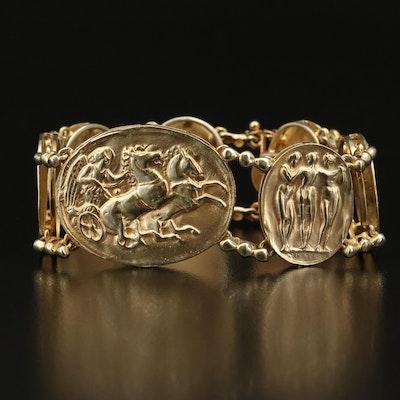 14K David Stern Repoussé Mythological Themed Bracelet