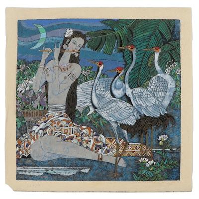 "Zhang Hong-Bin Lithograph ""Spring Song,"" Late 20th Century"