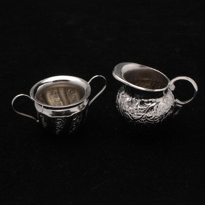 Indian Chased Silver Plate Cream and Sugar Bowls with Floral Design