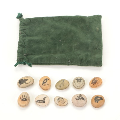 Hand-Painted Stones with North American Indigenous Peoples Motifs