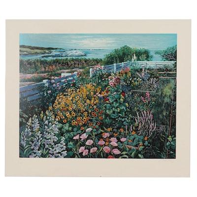 Susan Rios Coastal Landscape Serigraph, Circa 2000