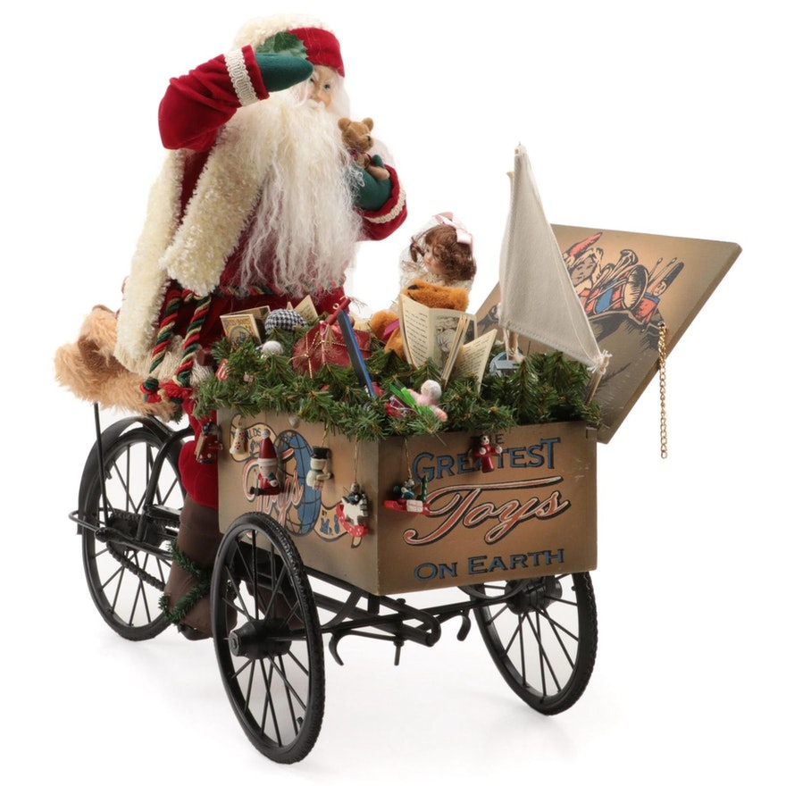 """Lynn Haney Collection """"World's Finest Toys"""" Santa with Delivery Cart, 1999"""
