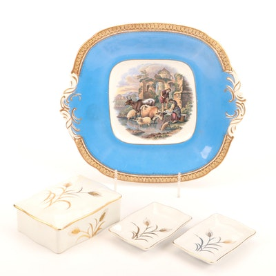 Lefton China Box and Dishes with Pratt Fenton Dish