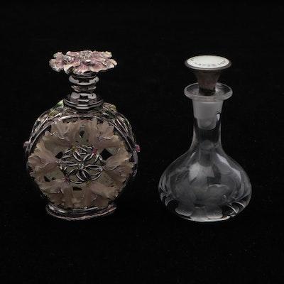 Glass and Enameled Metal Perfume Bottles