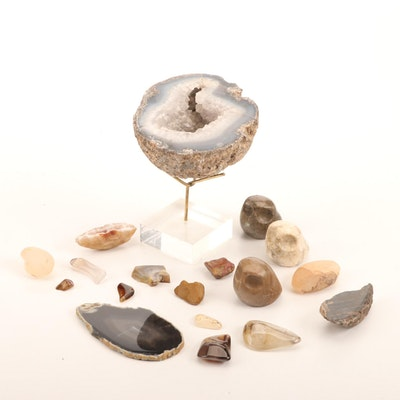 Collection of Geodes and Other Polished Stones