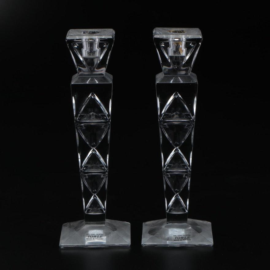 Towle Geometric Crystal Candlesticks