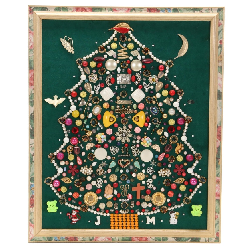 Mixed Media Collage of Christmas Tree, Late 20th Century