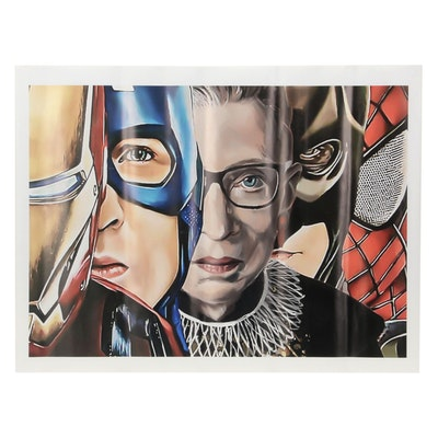 Pop Art Giclée of Ruth Bader Ginsburg and Comic Book Superheroes, 21st Century