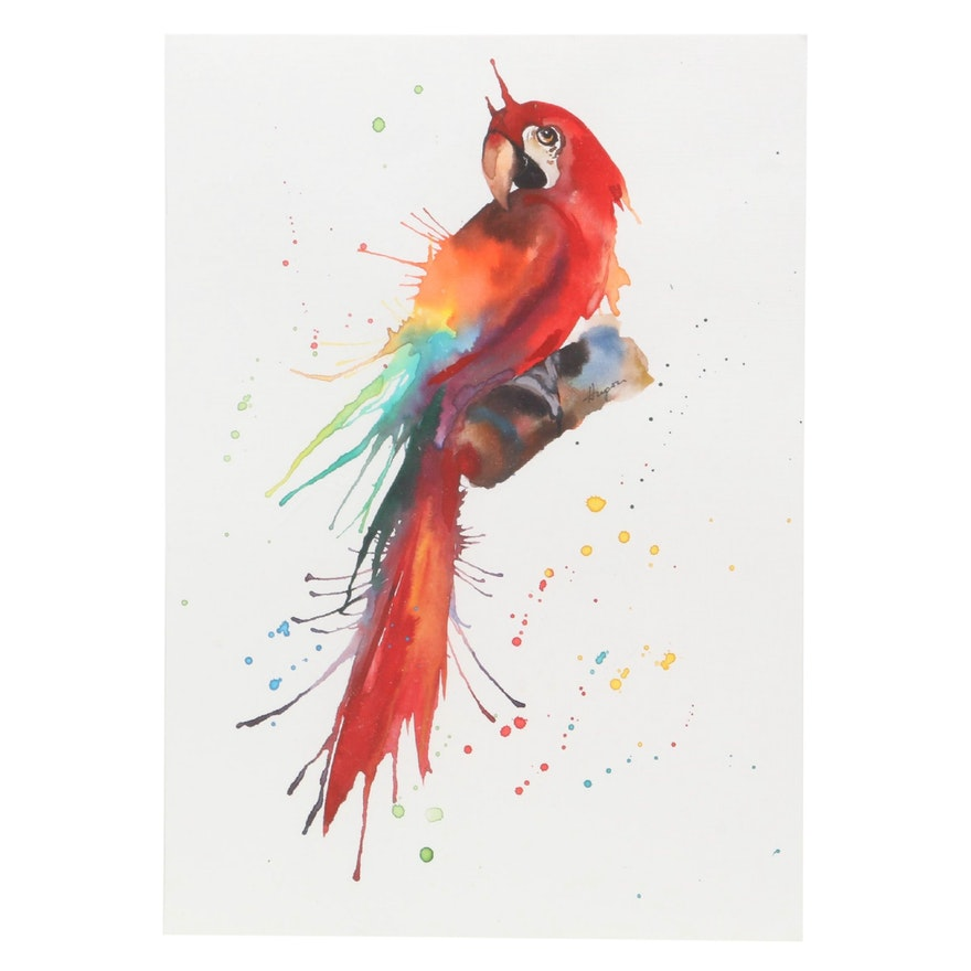 Anne Gorywine Watercolor Painting of Parrot
