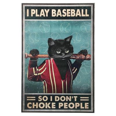 Giclée of Black Cat with Baseball Bat, 21st Century