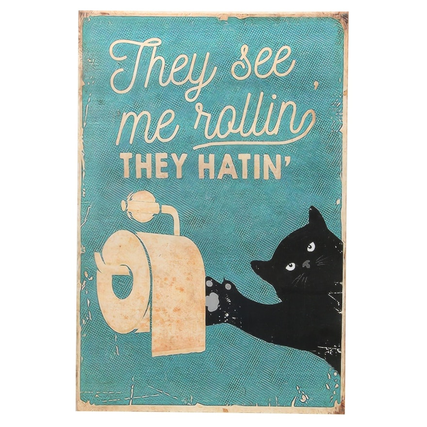 Giclée of Black Cat with Toilet Paper, 21st Century