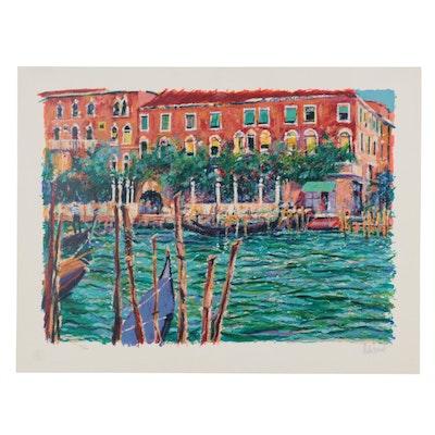 "Aldo Luongo Serigraph ""Springtime in Venice,"" Late 20th Century"