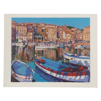 "Aldo Luongo Serigraph ""European Port"""