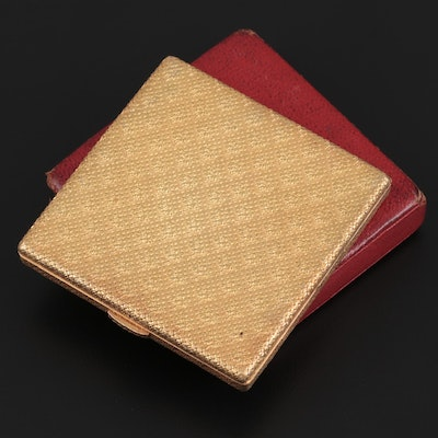 French 18K Gold Compact in Red Leather Case, Early to Mid 20th Century