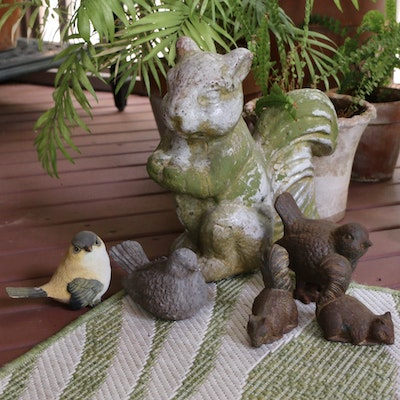 Outdoor Animal Figurines Including Earthenware and Metal Squirrels