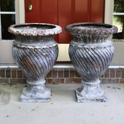 Patinated Composite Urn-Shaped Swirl Planters, Pair