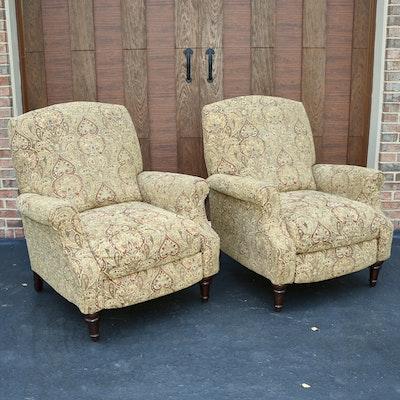 Pair of Lane Furniture Paisley Upholstered Manual Recliners