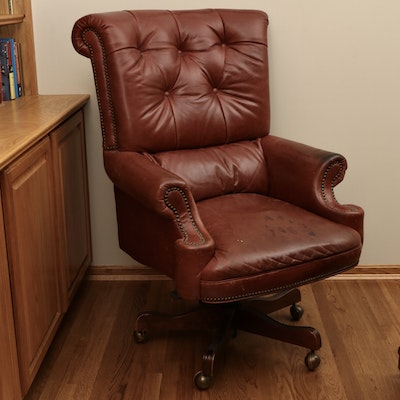 """Thomasville """"Kensington"""" Brass-Tacked Tufted Leather Executive Desk Chair"""