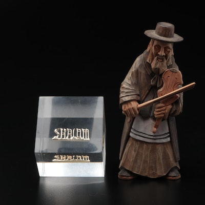 Carved Wooden Jewish Fiddler Figurine and Glass Shalom Paperweight