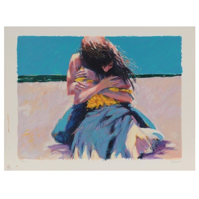 """Aldo Luongo Serigraph """"Young Lovers,"""" Late 20th Century"""
