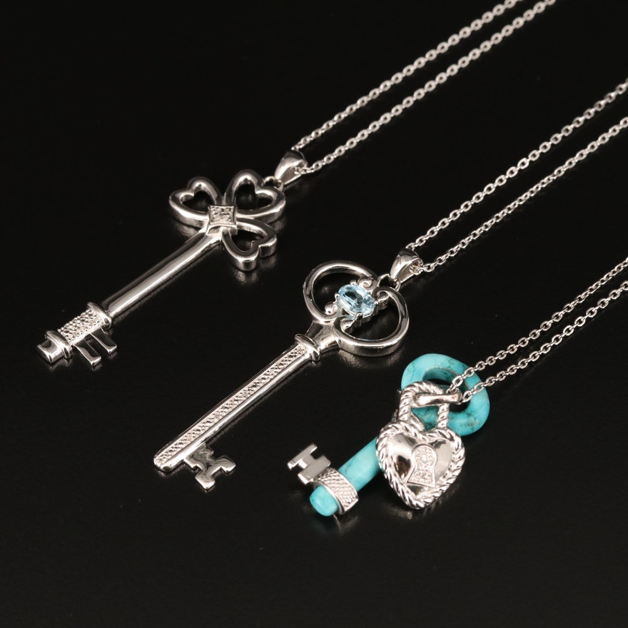 Sterling Key Necklaces Including Topaz, Diamond and Faux Turquoise