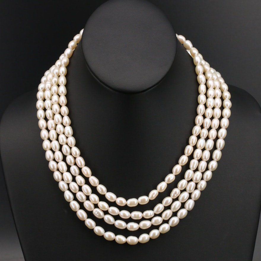Pearl Multi-Strand Necklace with Sterling Clasp