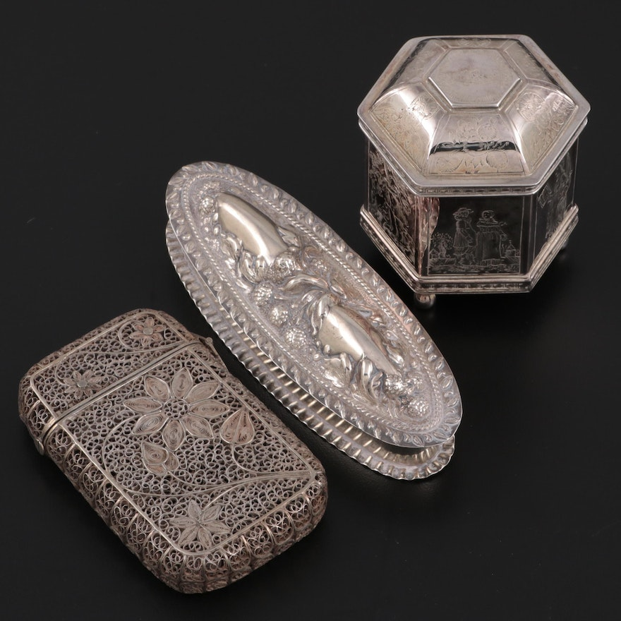 Reynolds and Westwood Sterling Silver with Other Boxes and Calling Card Case