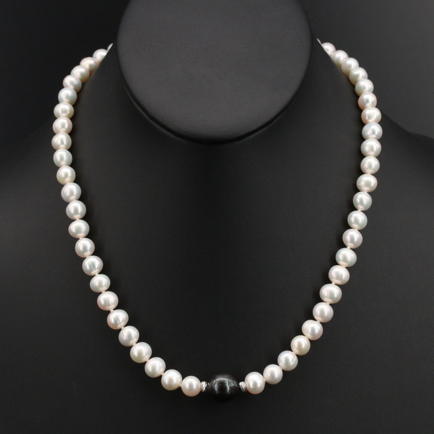 Knotted Pearl Necklace with Sterling Clasp and Accent Beads