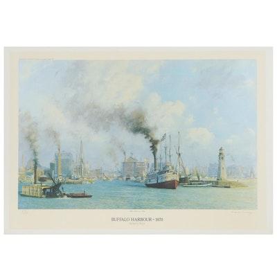 "Raymond Massey Offset Lithograph ""When Grain Was King: Buffalo Harbor - 1870"""