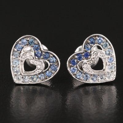 14K Sapphire and Diamond Heart Stud Earrings